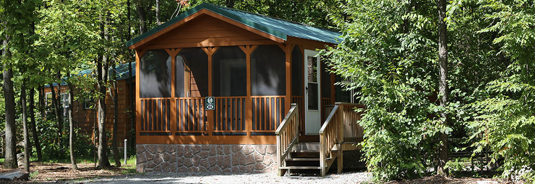 exterior photo of rental cabin near pittsburgh at jellystone mill run