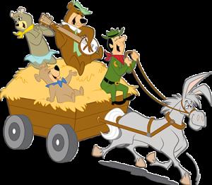 yogi bear and friends on a wagon ride