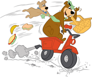 yogi bear and boo boo racing away on a golf cart with a basket full of food