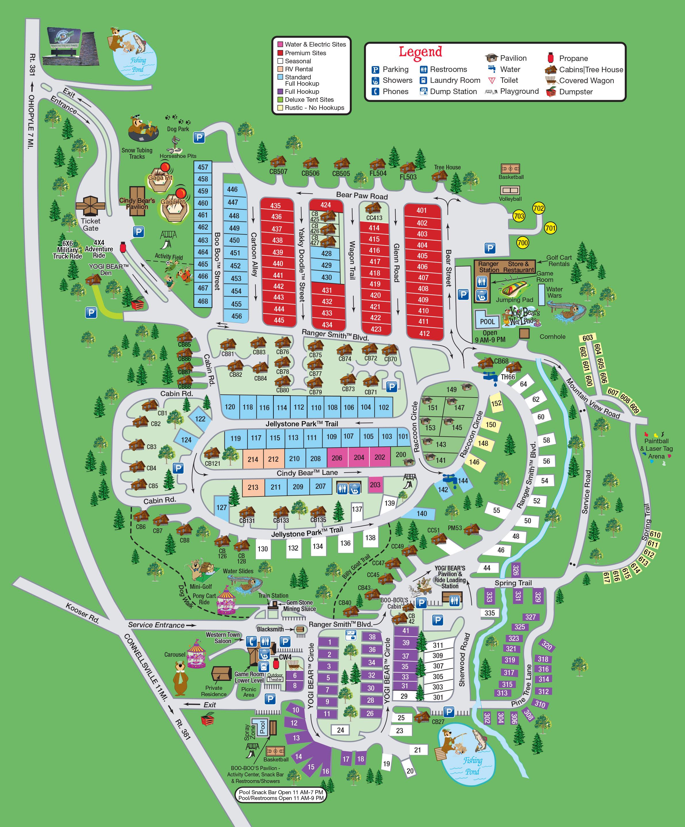 yogi bear jellystone park mill run campground map