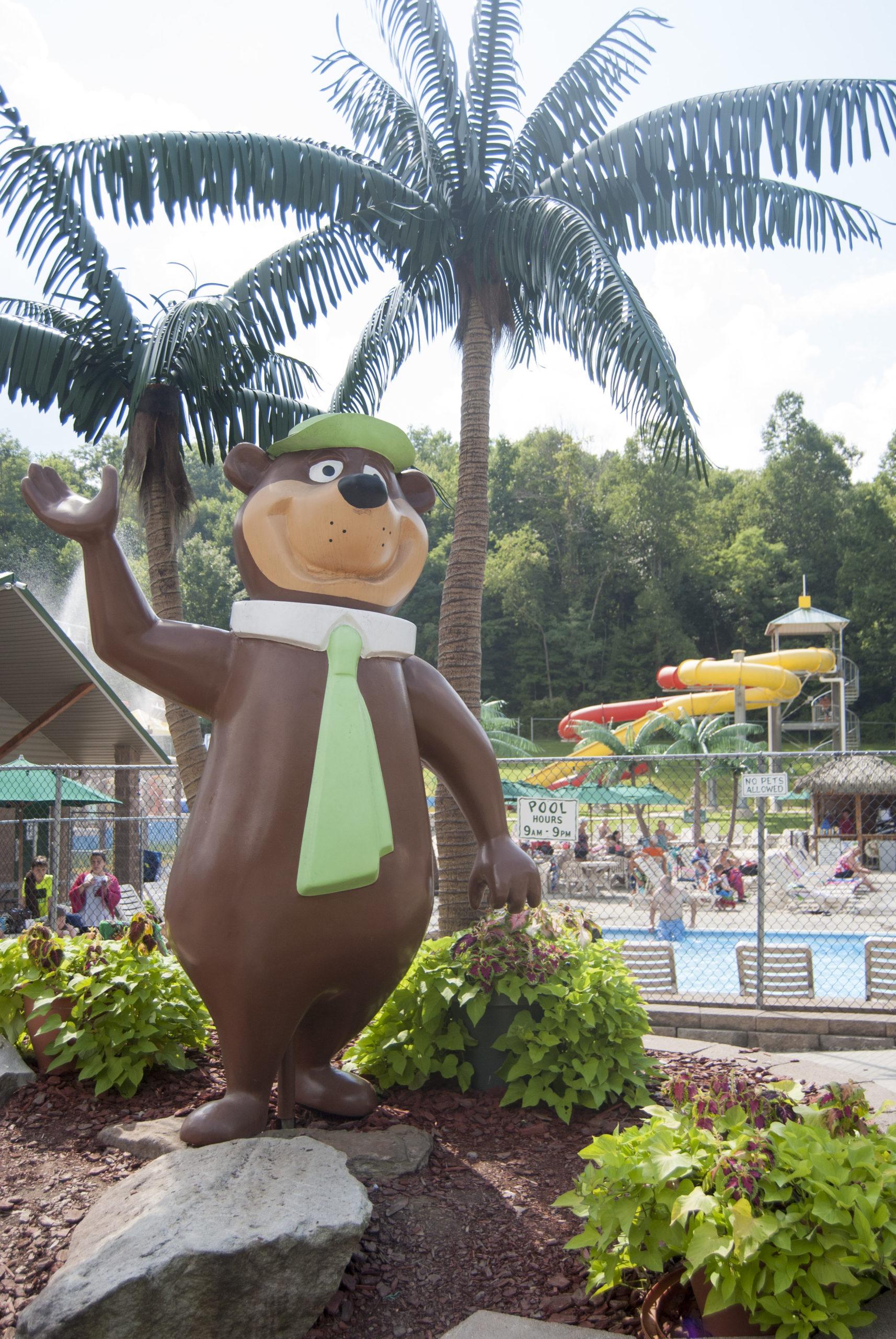 yogi bear statue at wetlands
