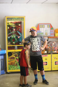 young boys at arcade